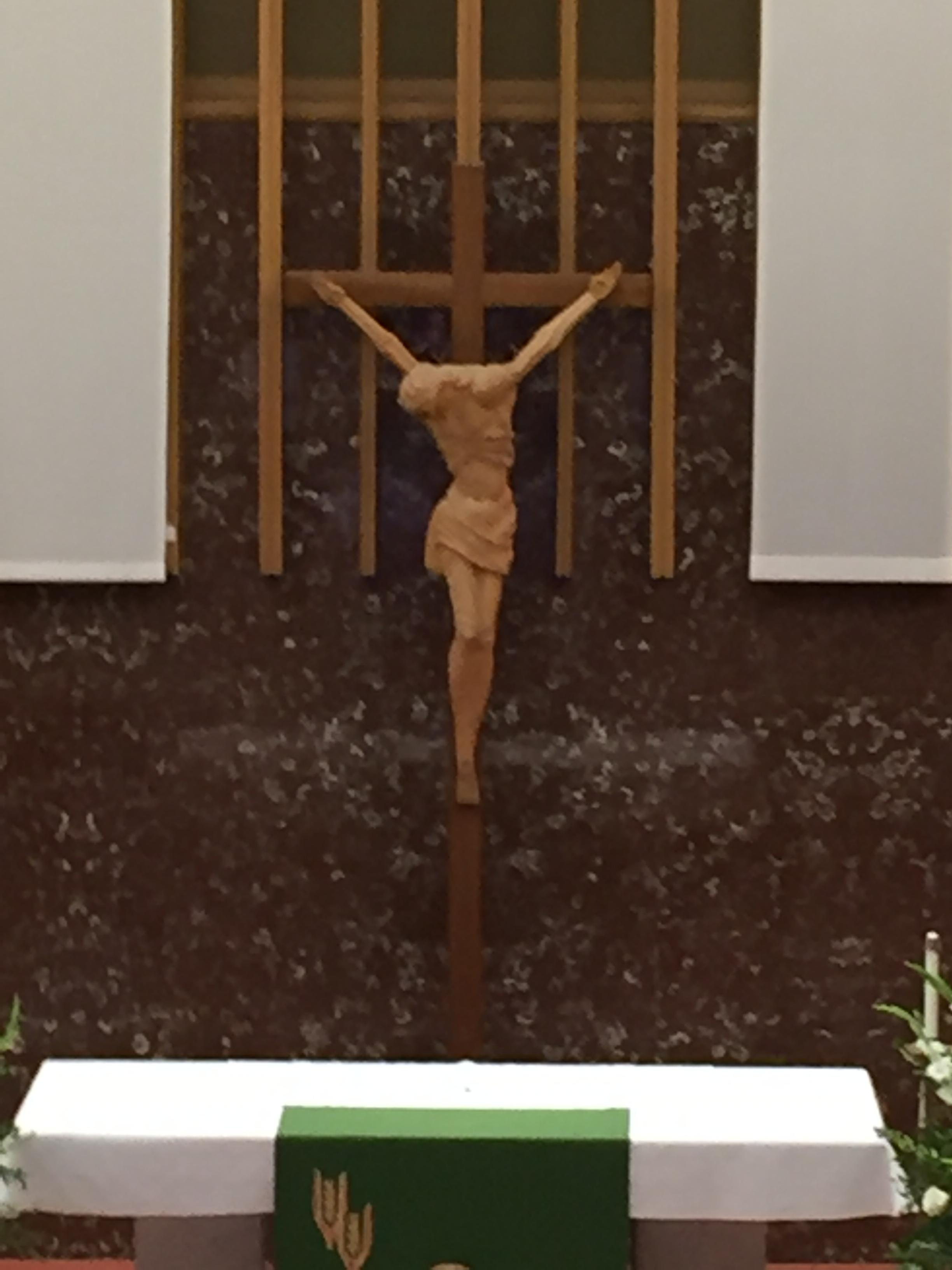 Tour of our church about us our lady of grace catholic church the crucifix is the cross bearing the body of the dead christ which appeared as an object of veneration in the fifth century biocorpaavc Choice Image