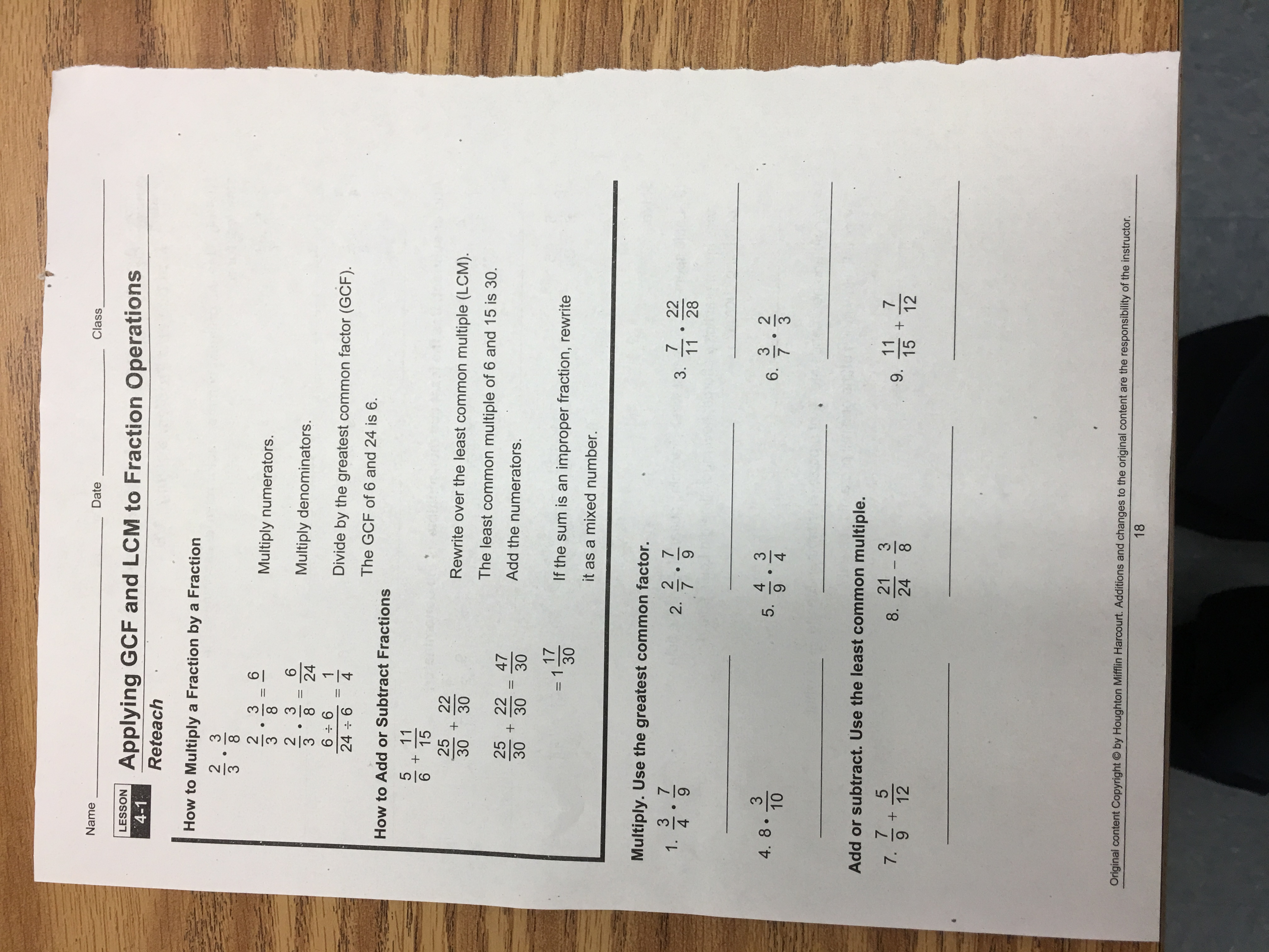 Hw 101716: Module 4, Lesson 41 Applying Gcf And Lcm To Fraction  Operations (pp 1718) * 2 Days Toplete!