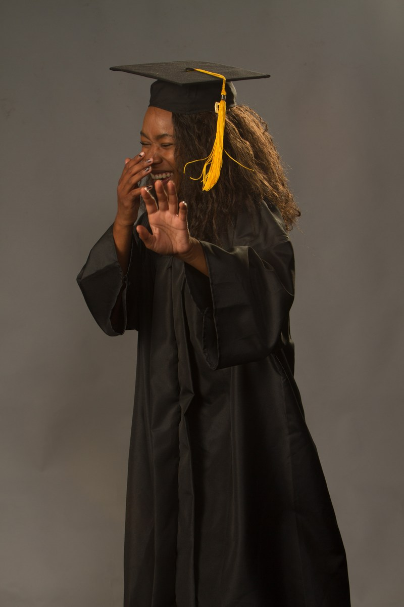 Aleea Moore cap and gown