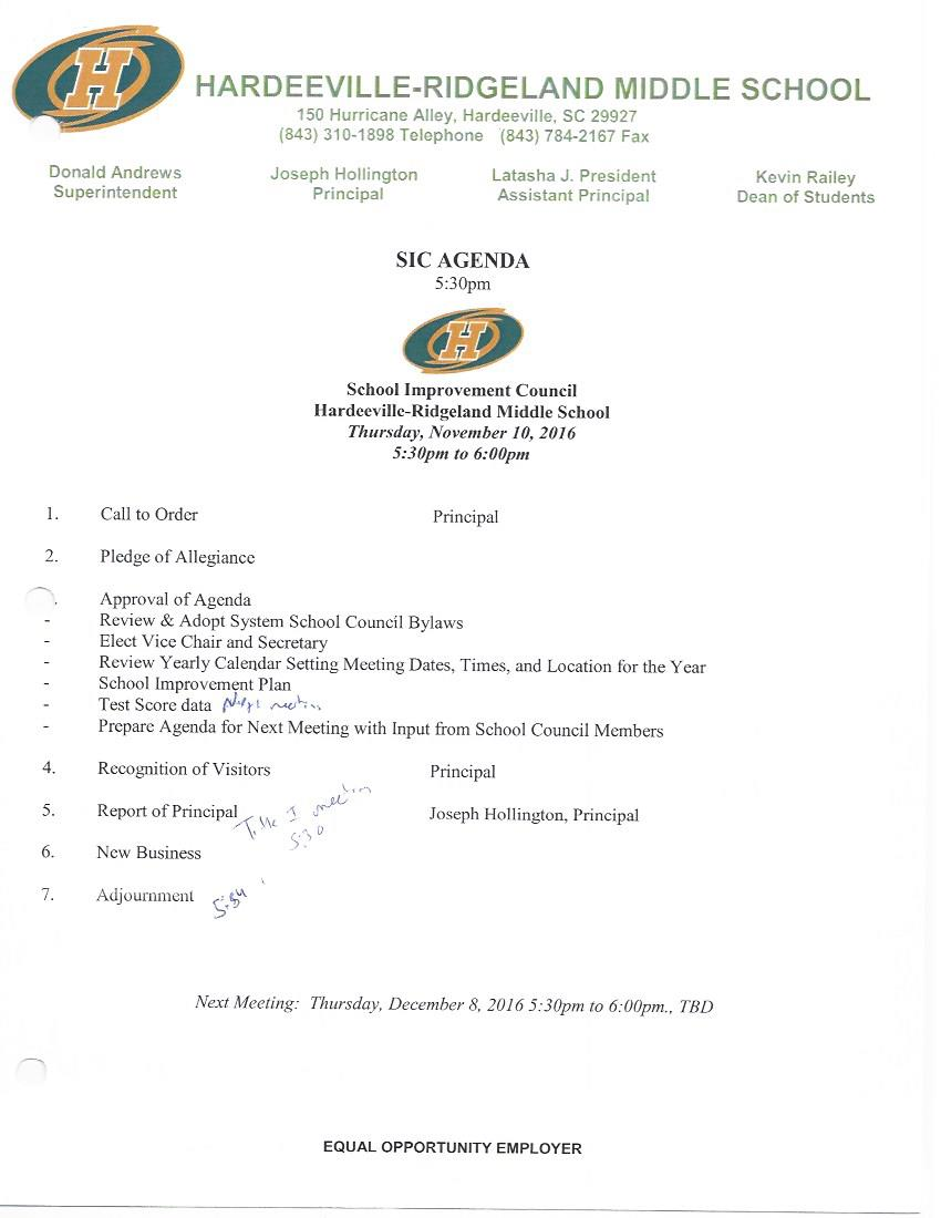 SIC Meeting Agendas and Minutes – School Improvement Council ...