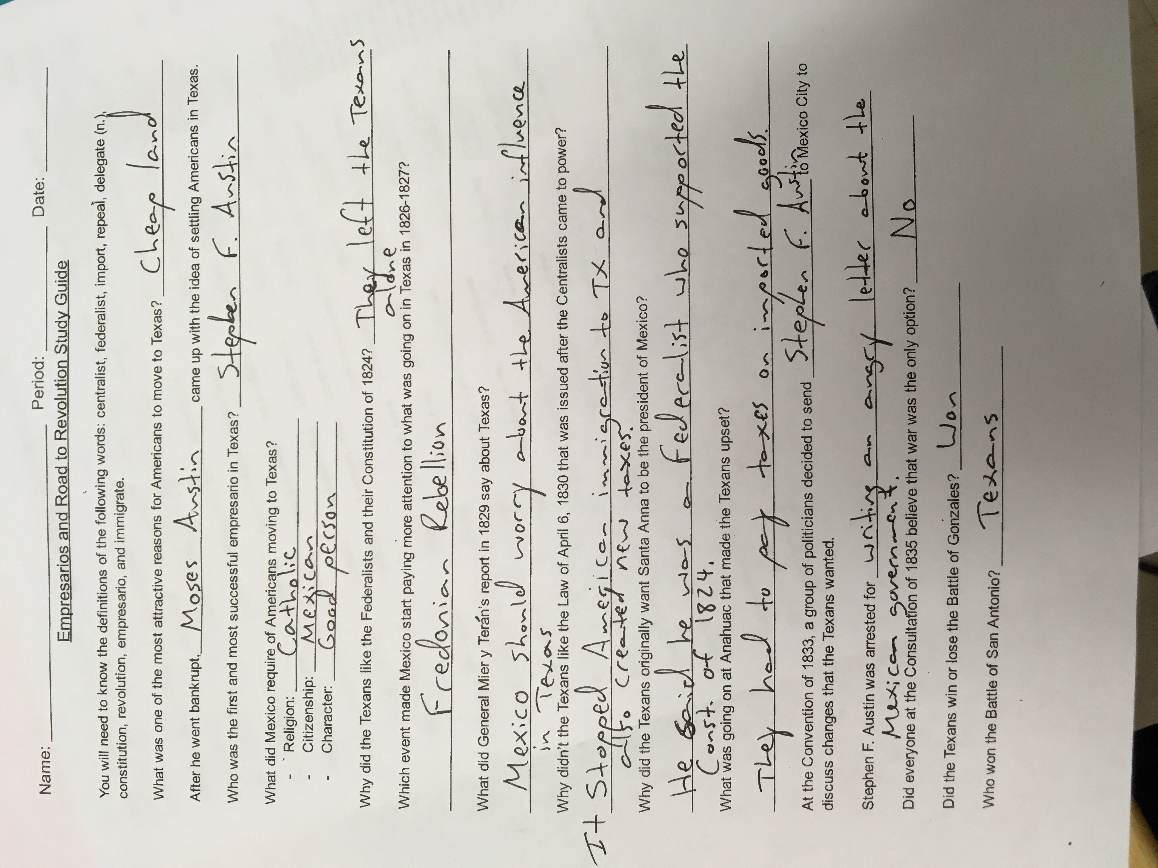 ... Answers for Empresarios and Road to Revolution Study Guide.