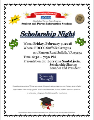 Flyer for Scholarship Information from PDCC
