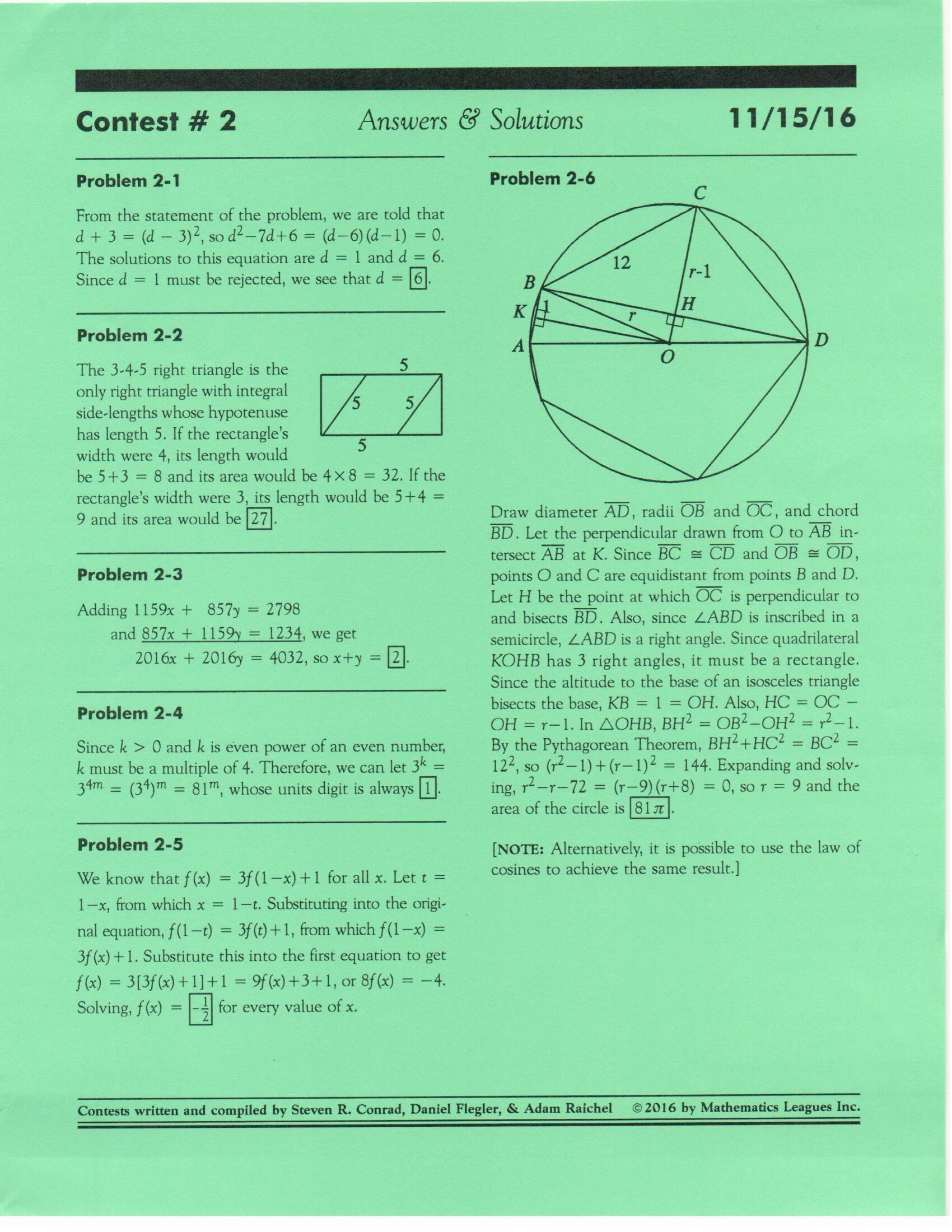 California Mathematics League – Math – Diamond Bar High School
