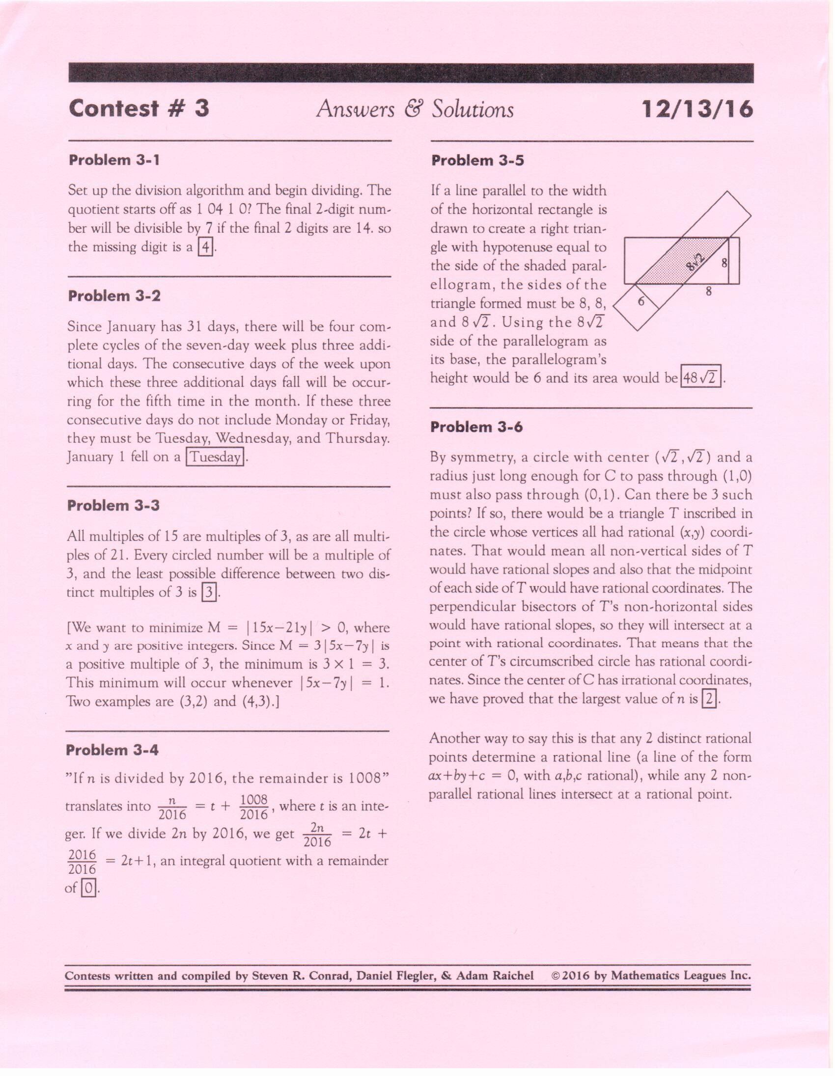 Math Team Math Diamond Bar High School – Cml Math Worksheets