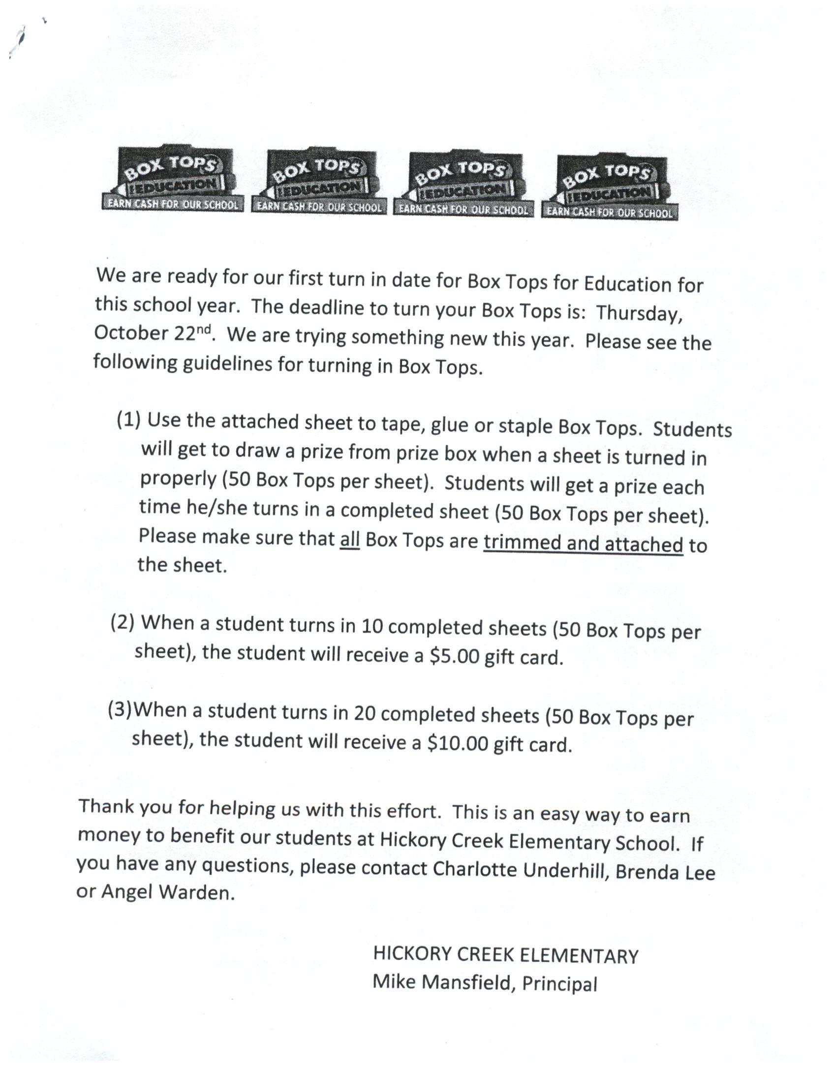 Box Tops – Parents – Hickory Creek Elementary