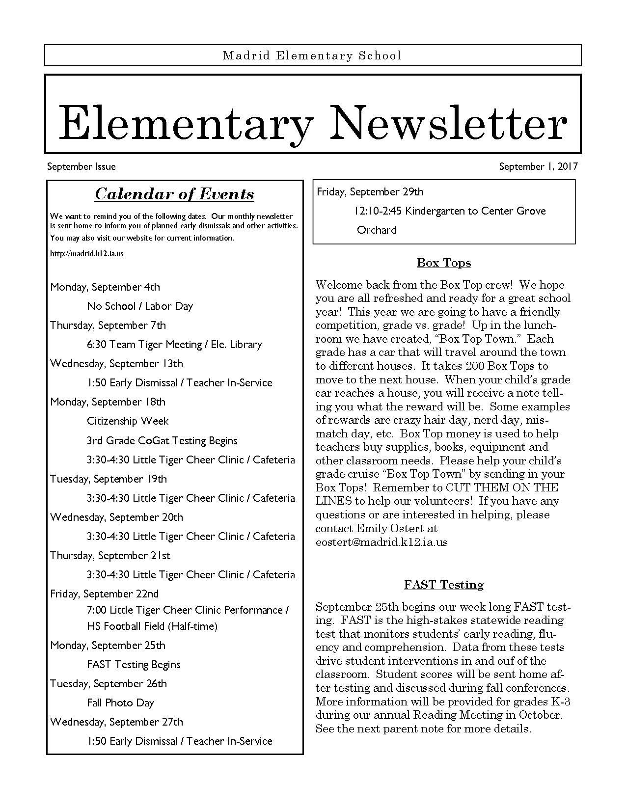 elementary newsletter newsletter madrid elementary school
